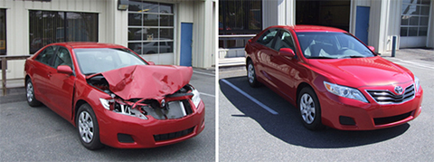 before after auto body repair